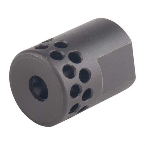 Short Muzzle Brake 22 Caliber 1/2-28 Steel Black