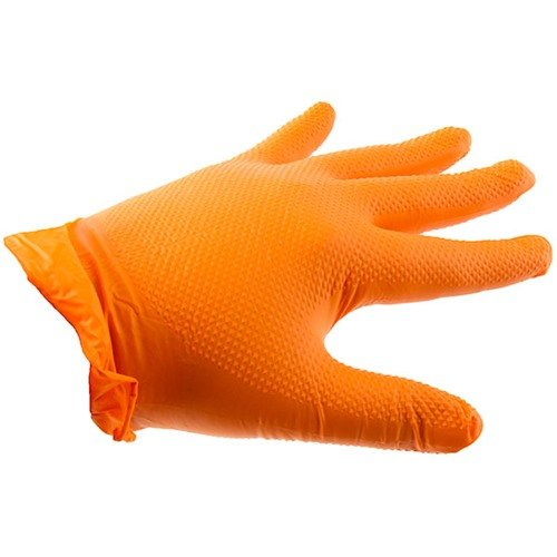 Orange Nitrile Heavy Duty Gloves-Medium